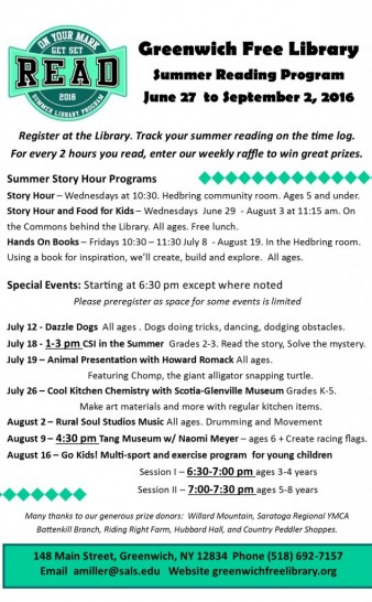 Summer Reading Schedule