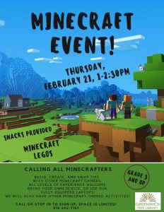 MineCraft: School Break Event – Greenwich Free Library