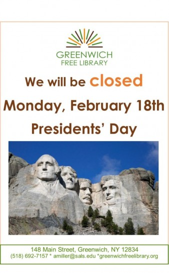Feb 18th CLOSED Presidents Day