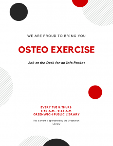 Osteo Exercise: Tuesdays and Thursdays 8:30-9:45am