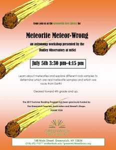 Meteorite Meteor-Wrong an Astronomy Workshop @ Greenwich Free Library